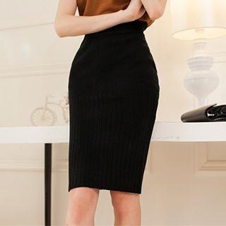 Ribbed Pencil Skirt 1053072974