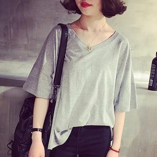 Elbow-Sleeve V-Neck T-Shirt 1061857726