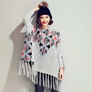 Pattern Knit Poncho 1056423156