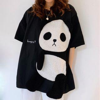 Image of Panda Detail Elbow-Sleeve T-Shirt