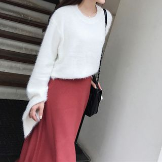 Image of Mohair Long-Sleeve Knit Sweater