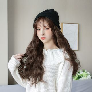 Image of Long Full Wig With Beanie - Wavy Caramel Brown - One Size