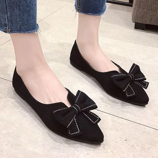 Image of Bow-accent Faux Leather Pointed Flats