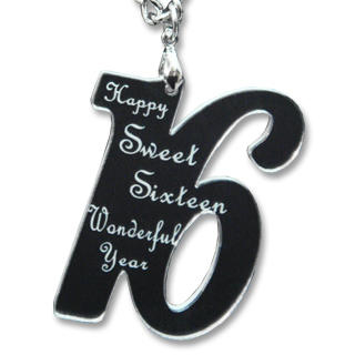 Sweet 16 Happy Birthday Mirror Necklace