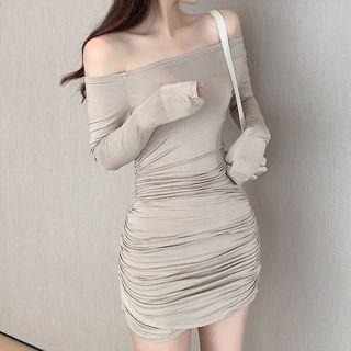 Image of Off-Shoulder Shirred Sheath Dress Nude - One Size