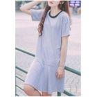 Striped Short Sleeve Ruffle Hem T-Shirt Dress 1596