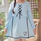 Lace-Up Long-Sleeve A-Line Dress 1596