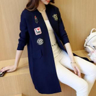 Applique Lettering Long Knit Cardigan 1596