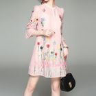 Embroidered Bell-Sleeve Dress 1596