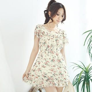 Buy Tokyo Fashion Ruffle Floral Chiffon Dress 1023065045