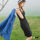 Stripes Ribbed Sleeveless Tank Dress 1596