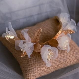 Bridal | Flower | White | Veil | Gold | Size | One