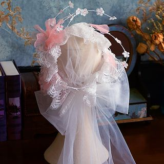 Bridal | Flower | White | Veil | Lace | Size | One
