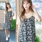 Set: Short-Sleeve T-Shirt + Floral Print Strappy Dress 1596