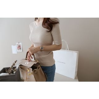 V-Neck Ribbed Knit Top 1058343158