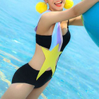 Star Print Color Striped Strap Swimsuit 1596