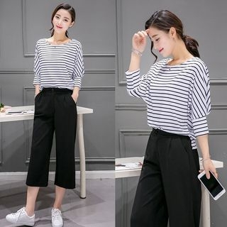 Set: 3/4-Sleeve Striped T-Shirt + Cropped Wide leg Pants 1059522387