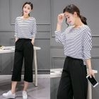 Set: 3/4-Sleeve Striped T-Shirt + Cropped Wide leg Pants 1596