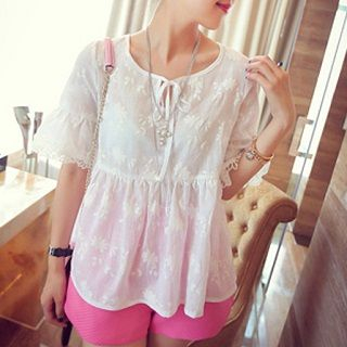 Everose Embroidered Blouse White - One Size