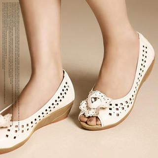 Buy Kvoll Flower-Accent Peep-Toe Perforated Flats 1022533013