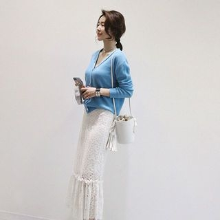 V-Neck Ribbed Cardigan 1059411453
