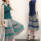 Set: Pleated Sleeveless Top + Stripe Wide Leg Cropped Pants 1596