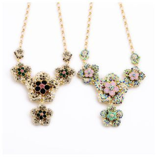 Rhinestone Flower Statement Necklace 1045309017