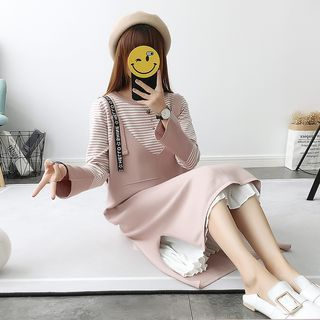 Set: Striped Bell-Sleeve Knit Top + Lettering Knit Pinafore Dress 1062826530