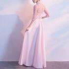 Mandarin Collar Elbow-Sleeve A-Line Evening Gown 1596