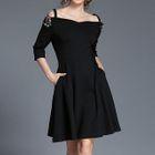 Sequined Cold Shoulder 3/4-Sleeve A-Line Dress 1596