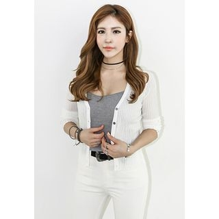 V-Neck Ribbed Cardigan 1058511267