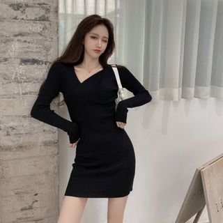 Long-sleeve Knit Mini Bodycon Dress