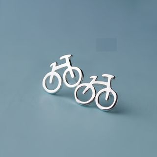 Sterling | Bicycle | Earring | Silver | Bike | Stud | Size | One