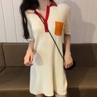 Short-Sleeve Knit Mini Polo Dress 1596