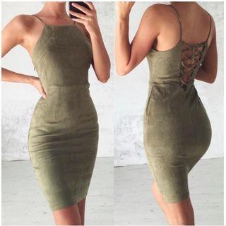 Lace-Up Back Spaghetti Strap Sheath Dress 1058014319