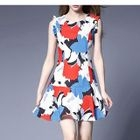 Printed Frill Trim Sleeveless Dress 1596