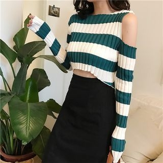 Striped Cold Shoulder Crop Top 1064115813