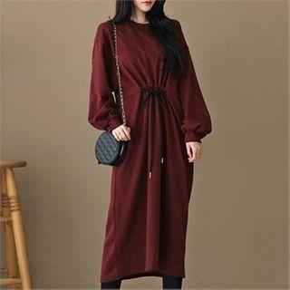 Balloon-sleeve Drawstring-waist Pullover Dress