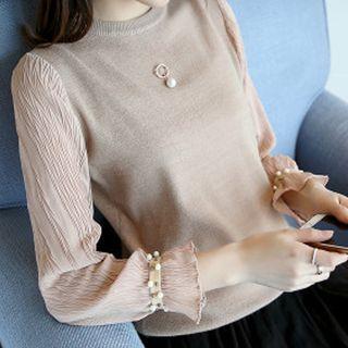 Image of Chiffon Panel Long Sleeve Knit Top