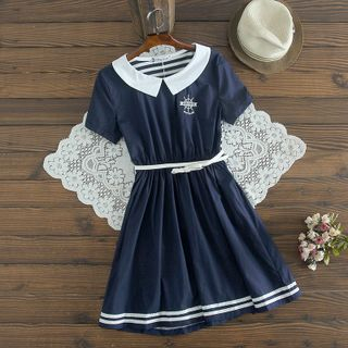 Image of Embroidered Short-Sleeve A-Line Dress