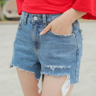 Cutout Distressed Denim Shorts 1060455082