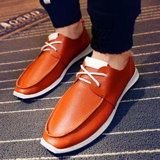 Faux-Leather Deck Shoes