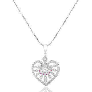 18K White Gold Heart Shape Pendant with Diamonds and Red Sapphire picture
