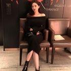 Off-Shoulder Rib-Knit Long Bodycon Dress 1596