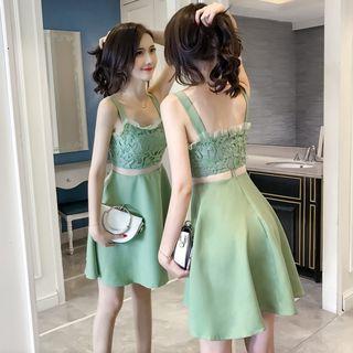 Sleeveless   Dress   Mini   Lace