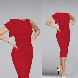 Ruffle Shirred Sheath Dress 1045094521