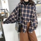 Plaid Long-Sleeve Knit Blouse 1596
