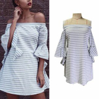 Off-Shoulder Cutout-Back Striped A-Line Dress 1596