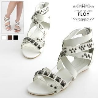 Buy FLOY SHOES Studded Cross-Strap Sandals 1023053597