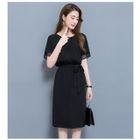 Tie-Waist Short-Sleeve Sheath Dress 1596
